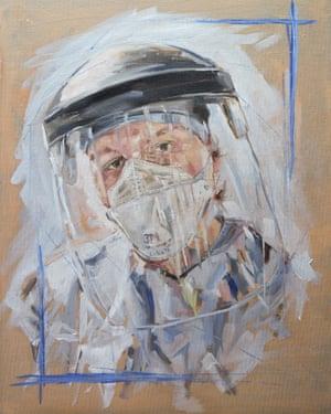 Una pintura al óleo de un trabajador del NHS con equipo de protección completo por Barry Miller.