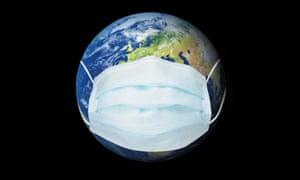 Ilustración que muestra una máscara facial envuelta alrededor del mundo