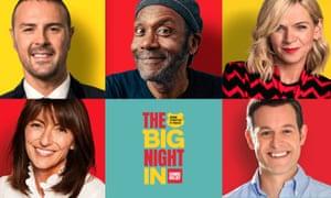 Paddy McGuinness, Lenny Henry, Zoe Ball, Davina McCall y Matt Baker.