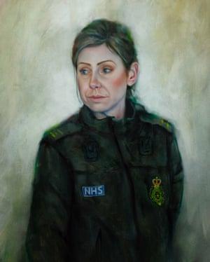 Aceite de Adrian Hill de su esposa, Shelley Hill, que trabaja para el servicio de ambulancias de Yorkshire.