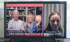 Esperanza presidencial Domecratic Joe Biden y su esposa hablan con su nieta en Zoom.