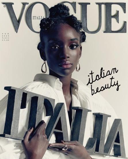 Edición de febrero de 2020 de Vogue Italia con el modelo Maty Fall Diba.