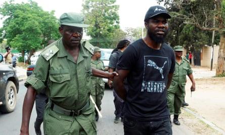 Pilato arrestado durante un mitin en Lusaka en septiembre de 2017