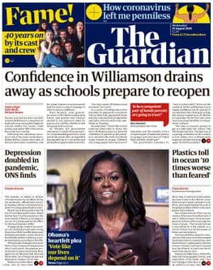 Portada de The Guardian, miércoles 19 de agosto de 2020