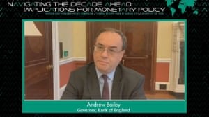 Andrew Bailey habló a través de un enlace de video sobre política monetaria.