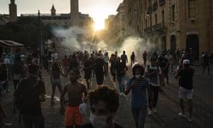 Manifestantes en Beirut, Líbano, el domingo 10 de agosto de 2020.
