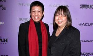 Maria Ressa y Ramona S Diaz asisten al estreno de A Thousand Cuts durante el 2020 Sundance Film Festival.