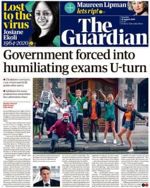 Portada de The Guardian para el martes 18 de agosto.