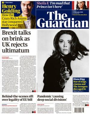 Portada de The Guardian, viernes 11 de septiembre de 2020