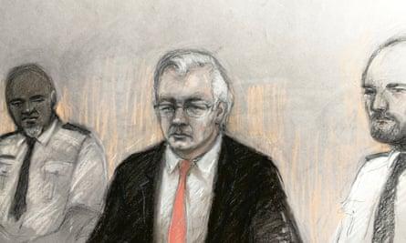 Un boceto de la corte de Julian Assange en el muelle