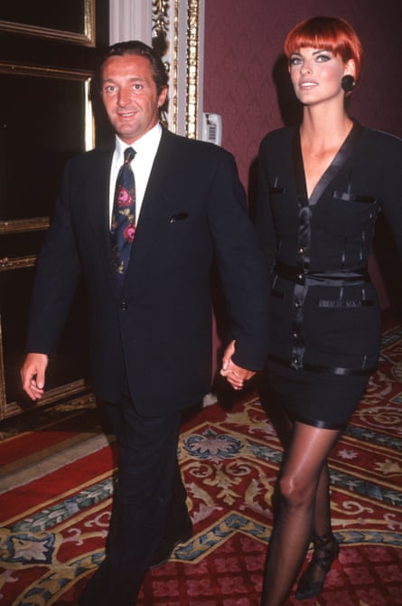 Marie con su entonces esposa Linda Evangelista en el concurso Elite Look of the Year 1991 en Nueva York.