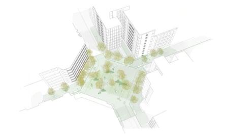 Vista artística de una de las nuevas plazas públicas que se crearán en el Eixample.