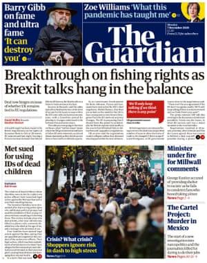 Portada de The Guardian, lunes 7 de diciembre de 2020