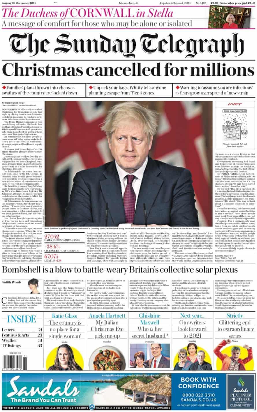 Sunday Telegraph, 20 de diciembre de 2020