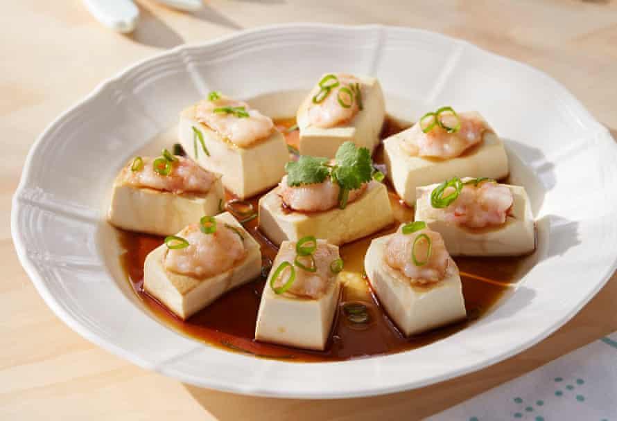 Tofu al vapor con pasta de camarones