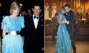 La princesa Diana y el príncipe Carlos en la vida real (izq.) Y en un drama televisivo.