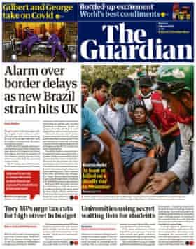 Portada de The Guardian, lunes 1 de marzo de 2021