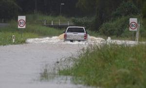 Una calle inundada en Billinudgel, al norte de Nueva Gales del Sur, el lunes 22 de marzo de 2021.