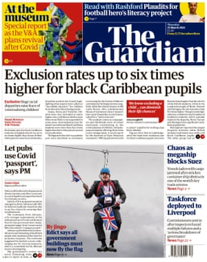 Portada de Guardian, jueves 25 de marzo de 2021