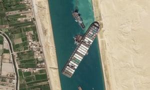 El carguero MV Ever Given está atascado en el Canal de Suez. (Foto: Planet Labs Inc. vía AP)
