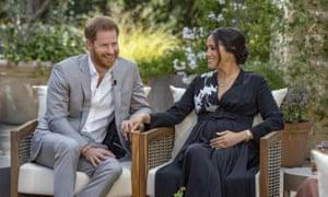 El duque y la duquesa de Sussex durante su entrevista de CBS con Oprah Winfrey.