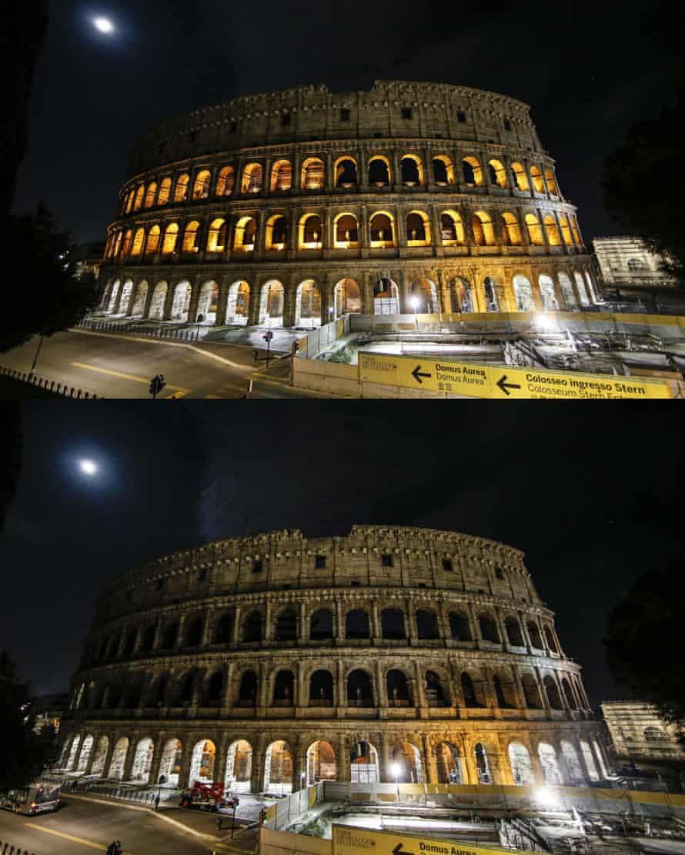 El Coliseo de Roma antes y después de sumergirse en la oscuridad