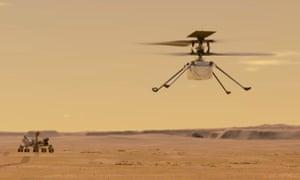 Ilustración de cómo se vería el ingenio en vuelo en Marte