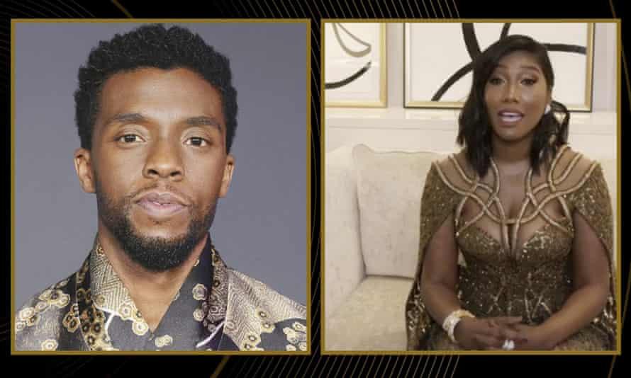 Taylor Simone Ledward Boseman acepta el premio al Mejor Actor en una Película Dramática por El fondo oscuro de Ma Rainey en nombre de su difunto esposo Chadwick Boseman.