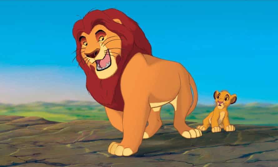 Fotograma de la película animada de 1994 El rey león, que muestra a Mafusa y Simba