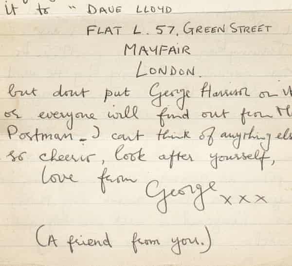 Una carta de George Harrison a Astrid Kirrcher, 1964.