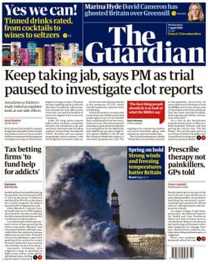 Portada de The Guardian, miércoles 7 de abril de 2021