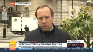 Matt Hancock en Good Morning Britain de ITV esta mañana.