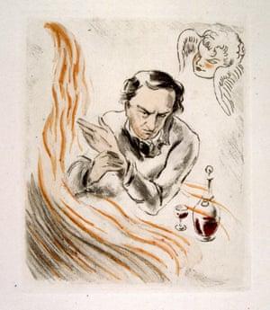 Ilustración dibujada en 1907 por Raoul Serres para el poema Wine (des Fleurs du Mal) de Charles Baudelaire.