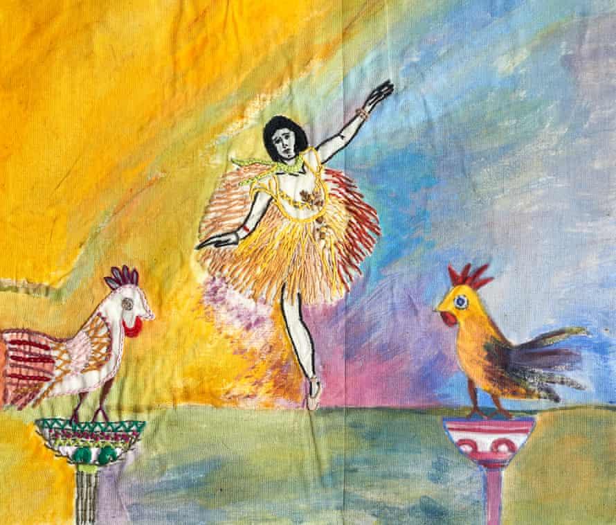 Los bailarines de Degas son la inspiración para esta pieza de acuarela y bordado, pero Fauzia ha agregado sus propios elementos.
