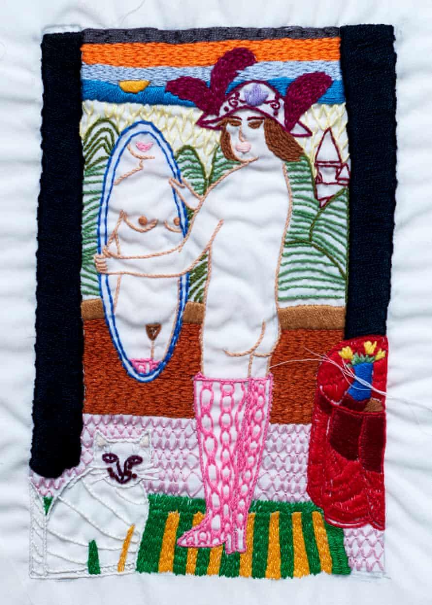 Una obra de Fauzia, una de una serie encontrada en su carpeta después de su muerte.