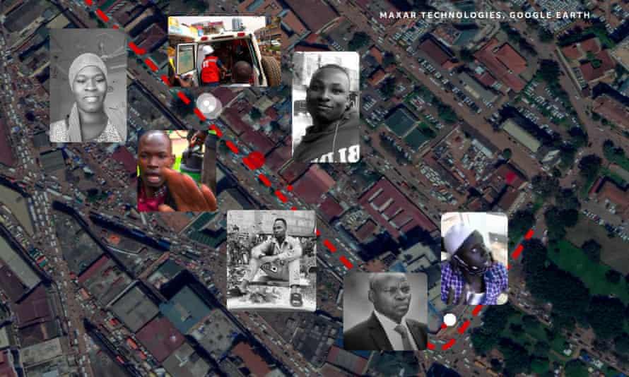 Las ubicaciones de la filmación colocadas en una imagen de satélite de Kampala.