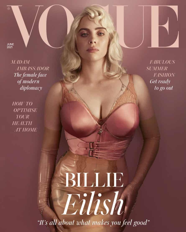 Billie Eilish en la portada de la revista Vogue en junio de 2021