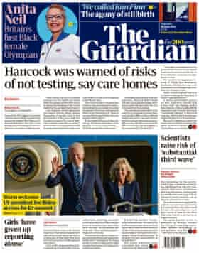 Portada de The Guardian, jueves 10 de junio de 2021