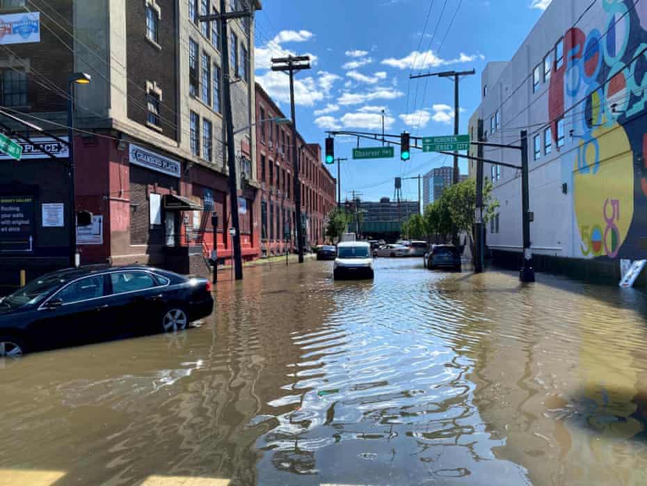 Inundaciones en el suroeste de Hoboken, Nueva Jersey, el jueves.