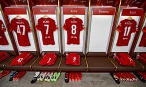 El vestuario del Liverpool antes del partido de Champions ante el Milán en Anfield.