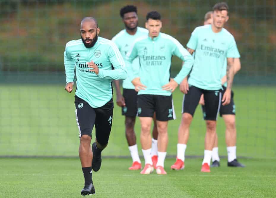 Jugadores del Arsenal en entrenamiento el jueves.
