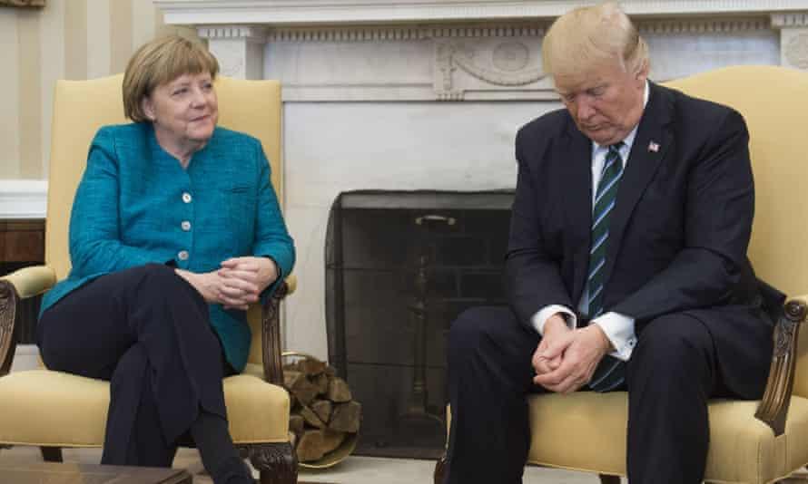Angela Merkel en 2017 y luego se reunió con el presidente de Estados Unidos, Donald Trump, en la Oficina Oval de la Casa Blanca.