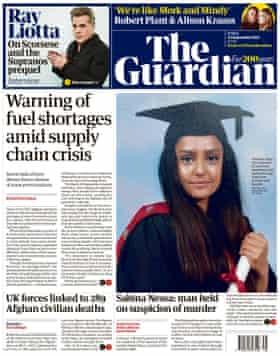 Portada de The Guardian, viernes 24 de septiembre de 2021
