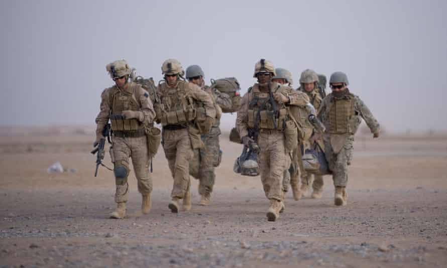 Marines estadounidenses en Camp Dwyer en la provincia de Helmand, 2009.