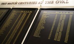 El nombre de Indian Rohit Sharma aparece en el gráfico Kia Oval Test Match Centuries